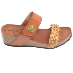 Cork Wedge Woven Slide Brown