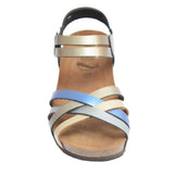 Cork Wedge Strappy Sandal Metallic Multi