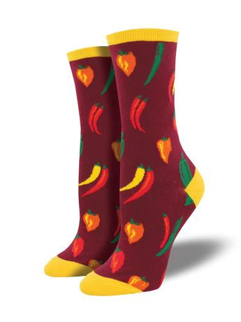 A Little Chili Socks Maroon