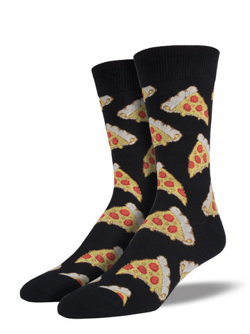 Men's Pizza Socks Black