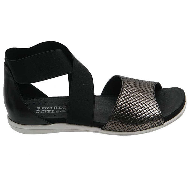 CATRYNE-25-Black/Metallic Sandal
