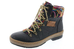 Lace Embroidery Boot Black Multi