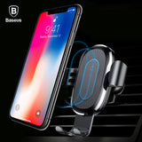 Baseus Car Mount Qi Wireless Charger For iPhone X 8 Plus Quick Charge Fast Wireless Charging Pad Car Holder Stand For Samsung S8, IPhone X