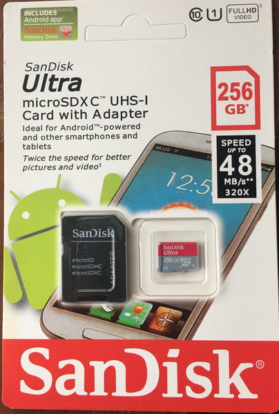 256Gb SanDisk Ultra microSDXC UHS-1 Card with adapter.