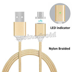 Magnetic Cable Nylon Braided Micro USB Data Charger Adapter Fast Charging Cable for  Samsung Android smartphone