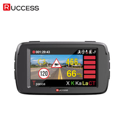 RUCCESS Anti Radar Detectors 3 In 1 Car DVR Radar Detector GPS Logger Full HD 1080p Police Speed Camera WDR Car Detector
