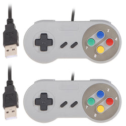 2 x Super Game Raspberry PI Controller USB Wired Classic Gamepad for PC SNES Laptop Computer for XP/for Vista L3EF