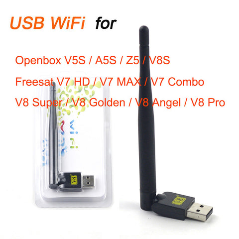 Mini V8 USB WiFi Wireless with Antenna LAN Adapter for Openbox X5 Z5 V8S,Freesat V7 HD ,V7 Combo;V8 Pro,V8 Super,V8 Golden,S-V6