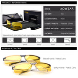 AOWEAR HD Night Vision Glasses for Night Driving Safety Car Driver Goggles Anti-Glare Yellow Sunglasses Men Polarized Eyewear