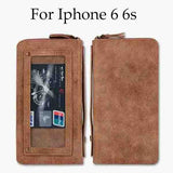 6 7 Retro Leather Flip Wallet Case for iPhone 7 6 6s Plus Cover Luxury Leather Phone Pouch Money Bag With Sard Slots Mirror Case