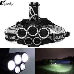LED Headlamp 18650 Torch Flashlight Rechargeable 6 Light Modes for Outdoor Sports Bike Bycicle Camping Biking Hunting Fishing