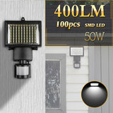 50W 100-LED Solar Powered Lamp with Motion Sensor Waterproof