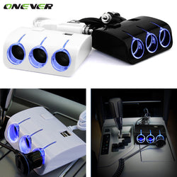 Onever Car Cigarette Lighter Splitter Hub Dual USB Ports Charger 12v Car Cigar Lighter Three Socket Car Charger With Switch