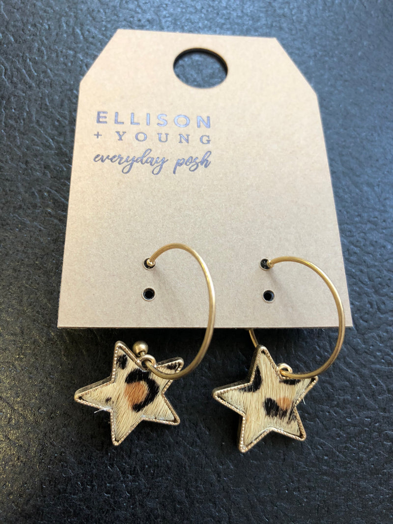 Leopard Star Hoop Earrings