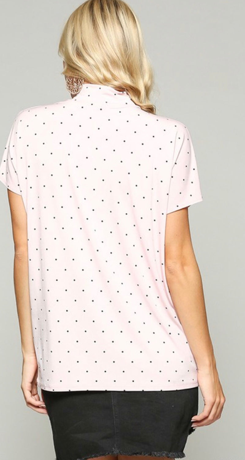 Polkadot Mock Neck Top