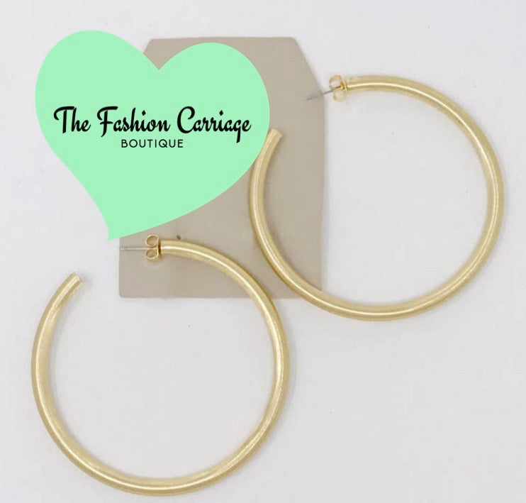 Satin Finish Hoop Earring