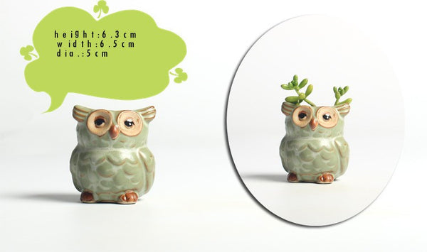 5pcs set Mini Home Decor Owl Miniature Garden Pot - HappySatchels