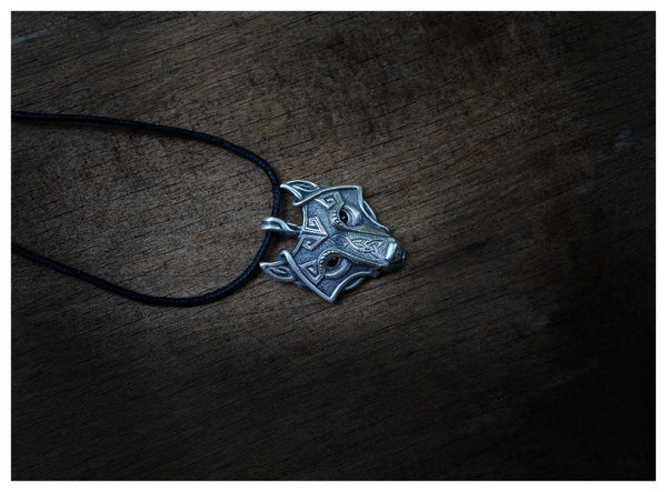 Norse Wolf Head Viking Necklace - HappySatchels
