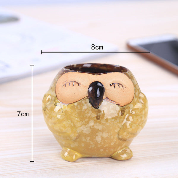 HappySatchels™ Smiley Owl Ceramic Pot - HappySatchels