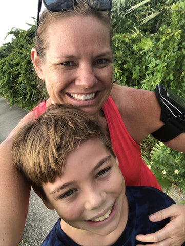 Erin and her son exercising together
