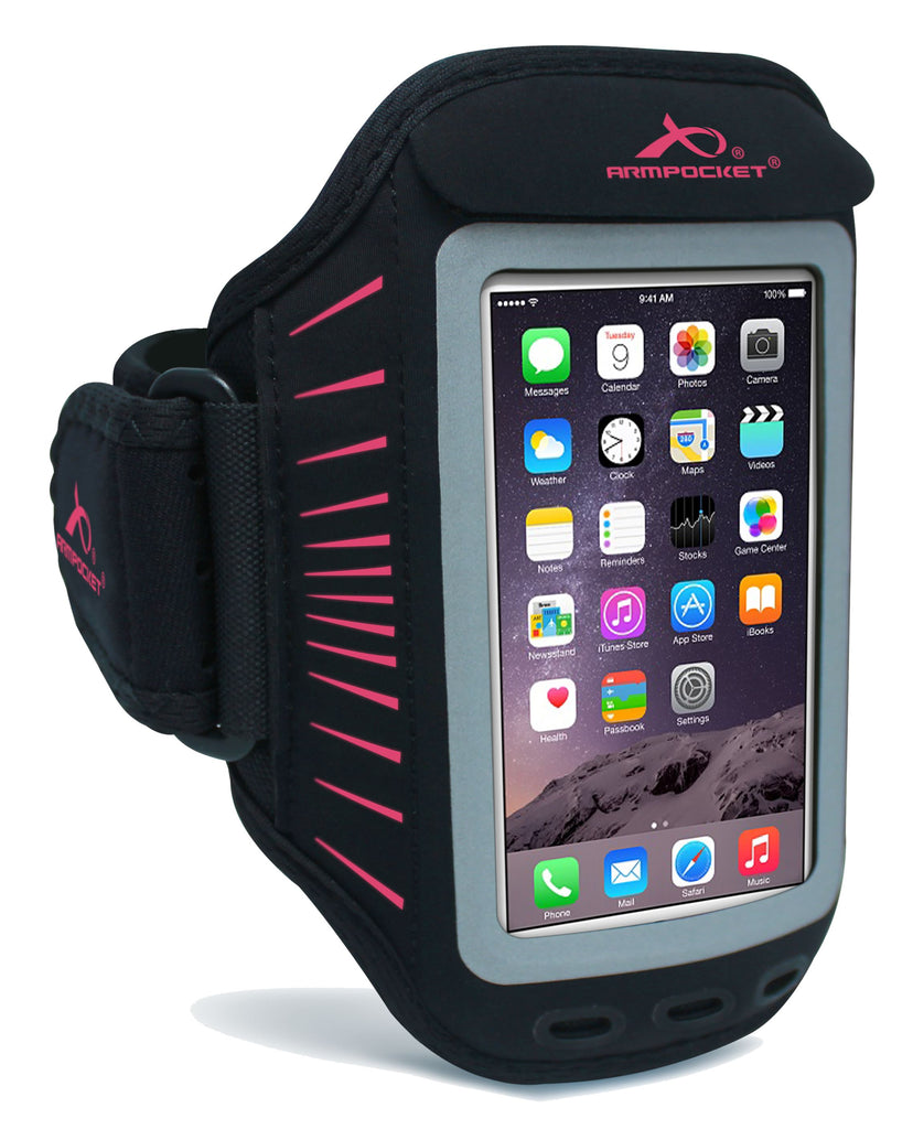 Racer Slim Armband for Phones without cases up to 5.5 Inches - Black/Pink