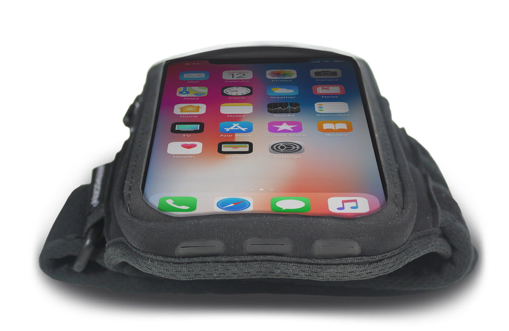 Armpocket X armband for iPhone X/Xs, S10/S9/S8 & full screen devices Port View