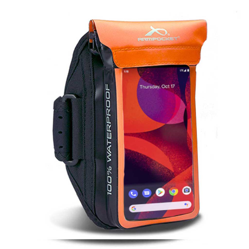 100% Waterproof armband for Google Pixel 5, ID, and keys - Orange