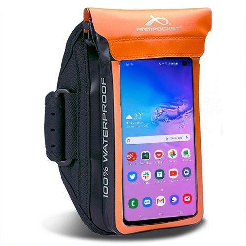 100% Waterproof armband for Google Pixel 4a, ID, and keys Orange