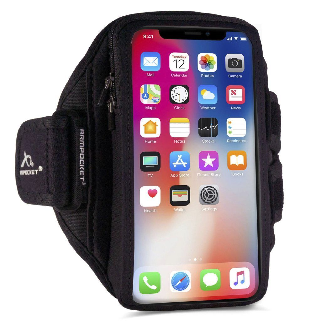 Armpocket X Plus armband for iPhone Xs Max, Galaxy Note 9, and full screen devices Side View