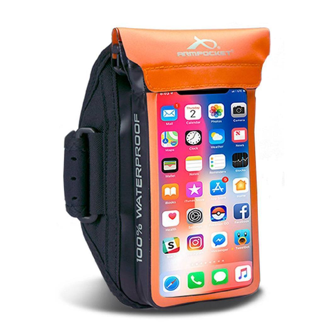 100% Waterproof Armband for iPhone 8/7, Galaxy S7/S6 & more - Aqua Orange
