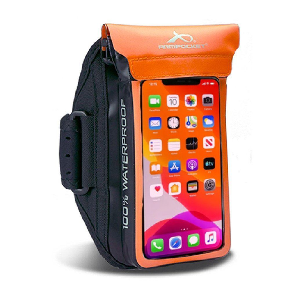 100% Waterproof armband for iPhone 11 Pro, ID, and keys Orange