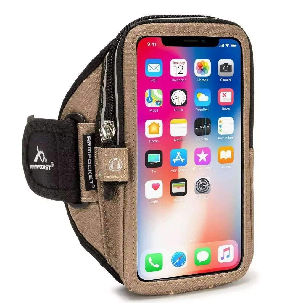 Mega i-40 armband for iPhone Xs/Xr/X/8/7, Galaxy S10/S9/S8 & more with large cases Coyote