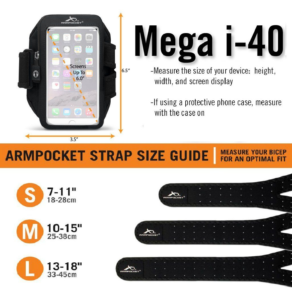 Armpocket X Plus iPhone 11 Pro Armband Size Chart