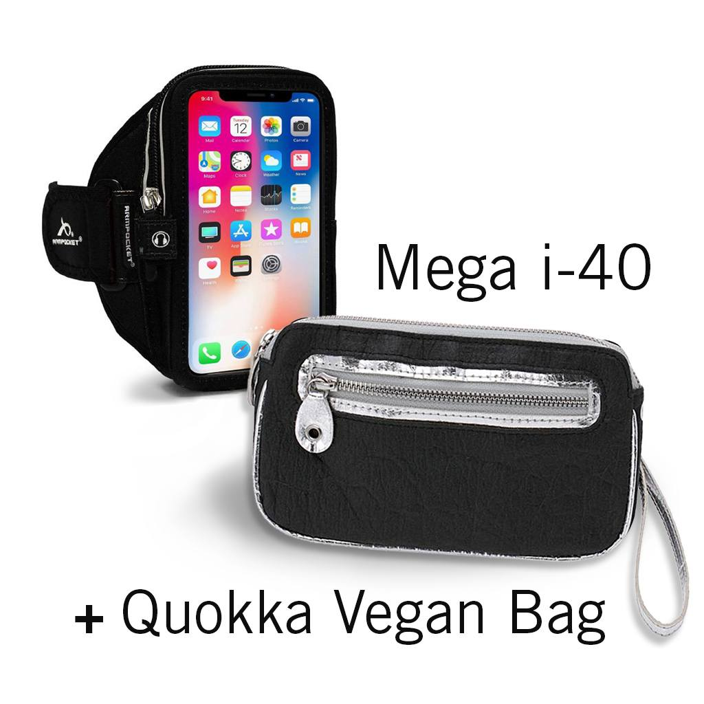 Mega i-40 Running Phone Armband + Black/Silver Quokka Vegan Bag