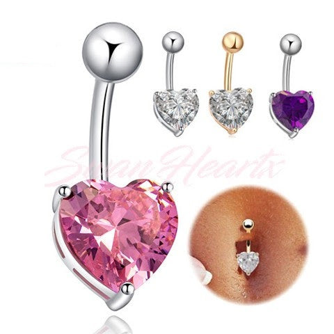 Crystal Heart Navel Stud