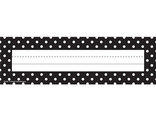Teacher Created Resources Black Polka Dots Name Plates, Black (4001)