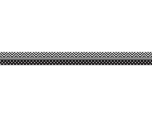 Teacher Created Resources Black and White Chevron and Dots Straight Border Trim