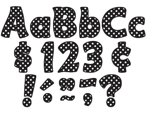 Teacher Created Resources Black Polka Dots Funtastic Font 4-Inch Letters Combo Pack (5346)