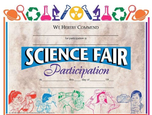 Hayes Certificates - Science Fair Participation - 8 1/2 x 11 inch - Pack of 30
