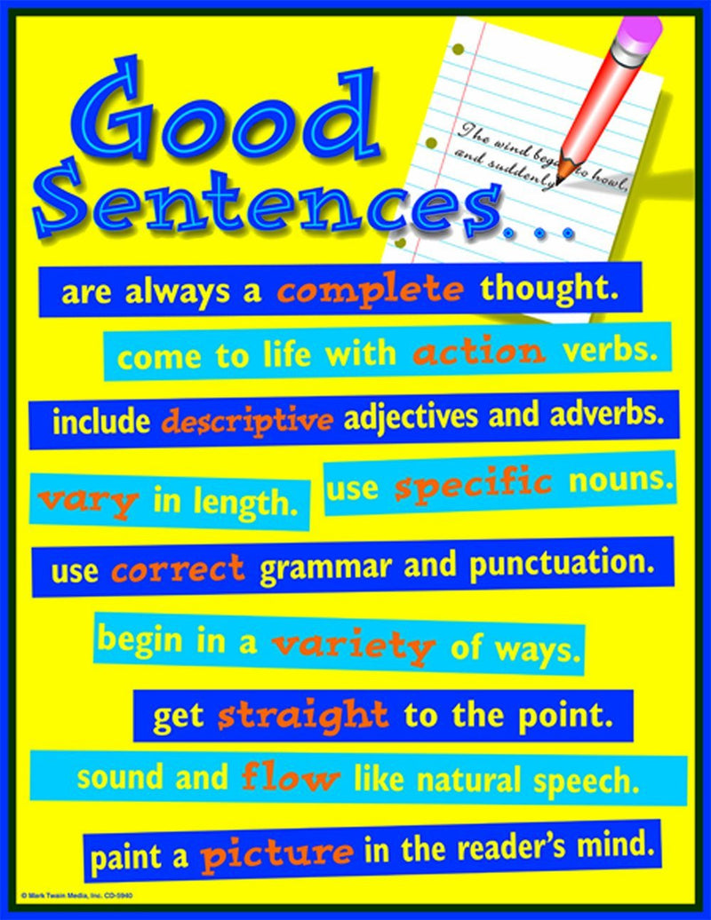 Carson Dellosa Mark Twain Good Sentences Chart (5940)