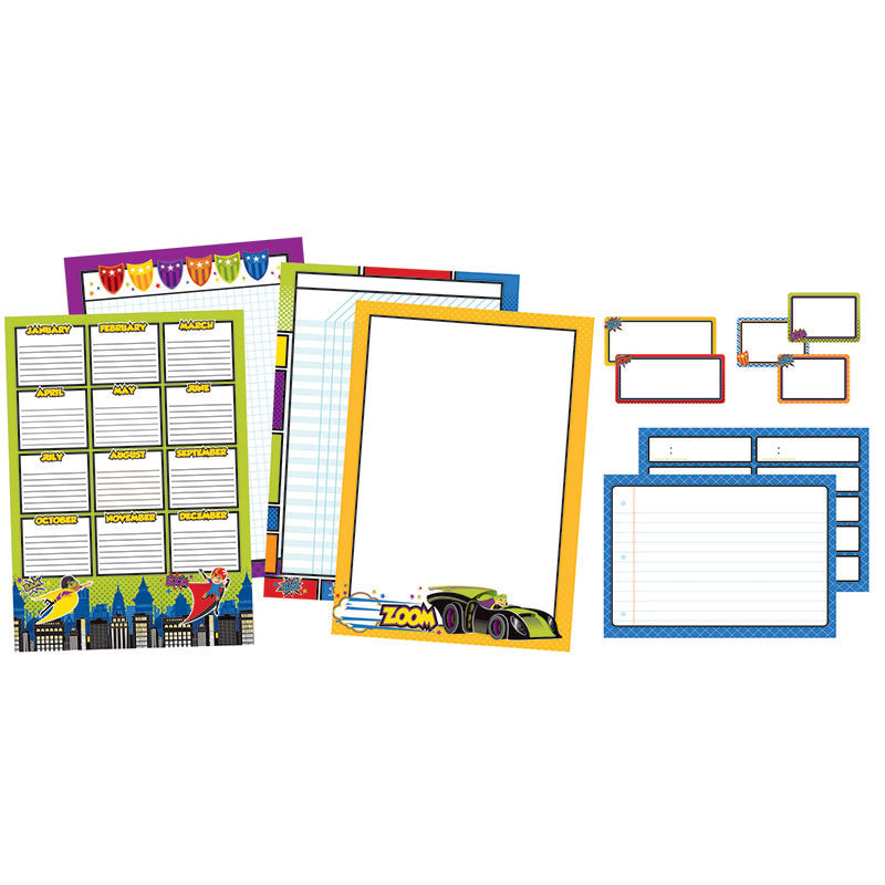 Carson Dellosa Super Power 21 Piece Classroom Organizers Bulletin Board Set
