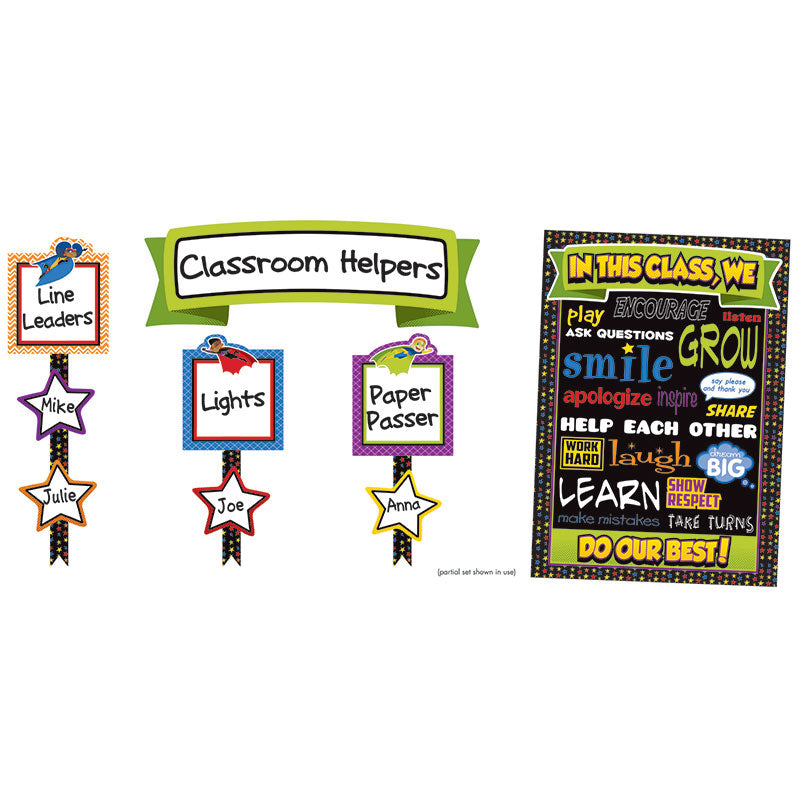 Carson Dellosa Super Power 54 Piece Classroom Management Bulletin Board Set