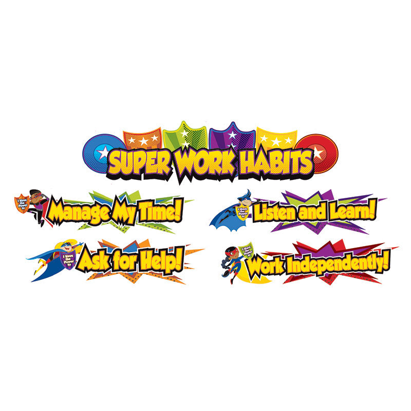 Carson Dellosa Super Power 8 Piece Super Work Habits Mini Bulletin Board Set