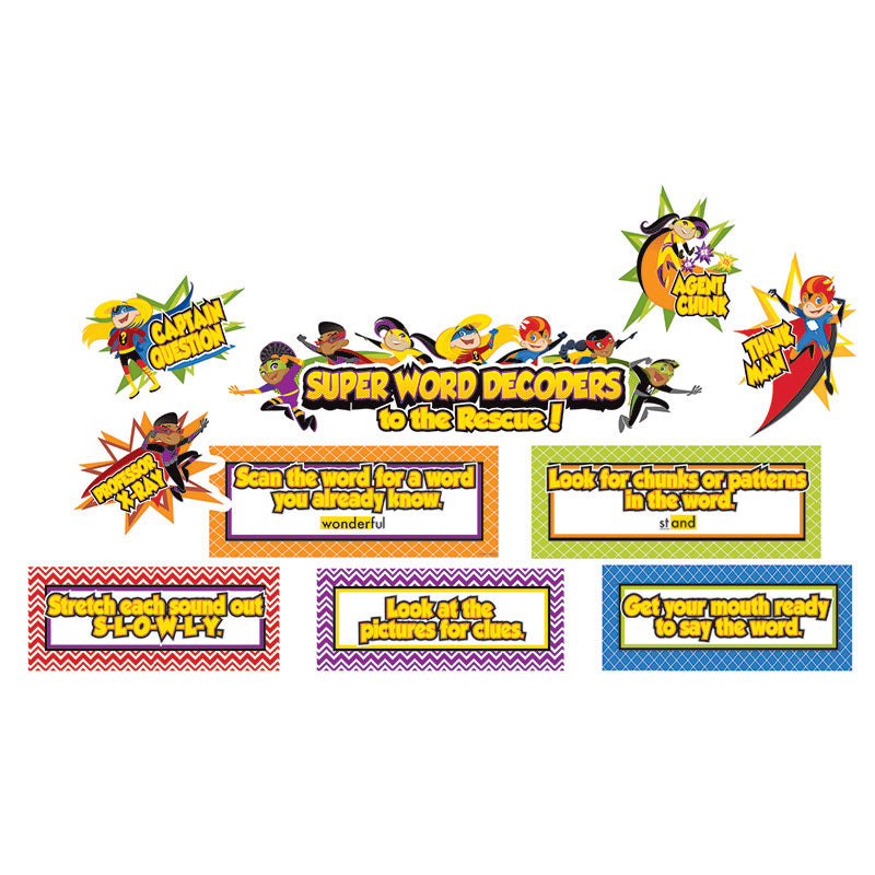 Carson Dellosa Super Power 15 Piece Decoding Words Mini Bulletin Board Set