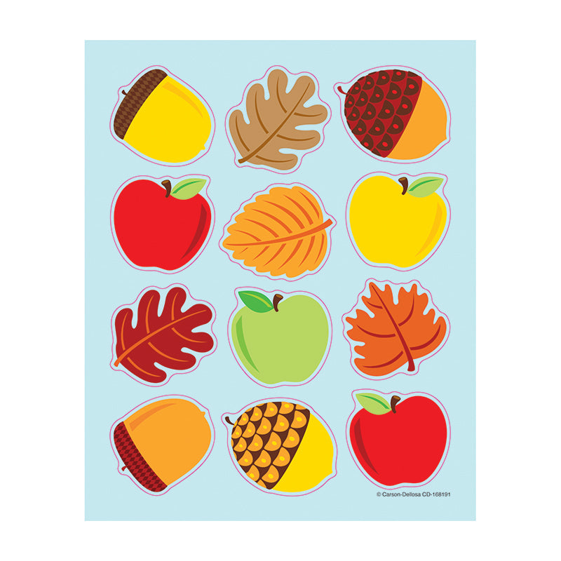 Carson Dellosa Apples Acorns & Leaves 72 Pack Shape Stickers