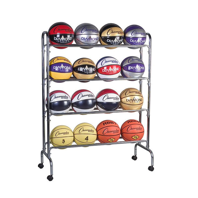 Portable Ball Rack 4 Tier Holds 16 Balls