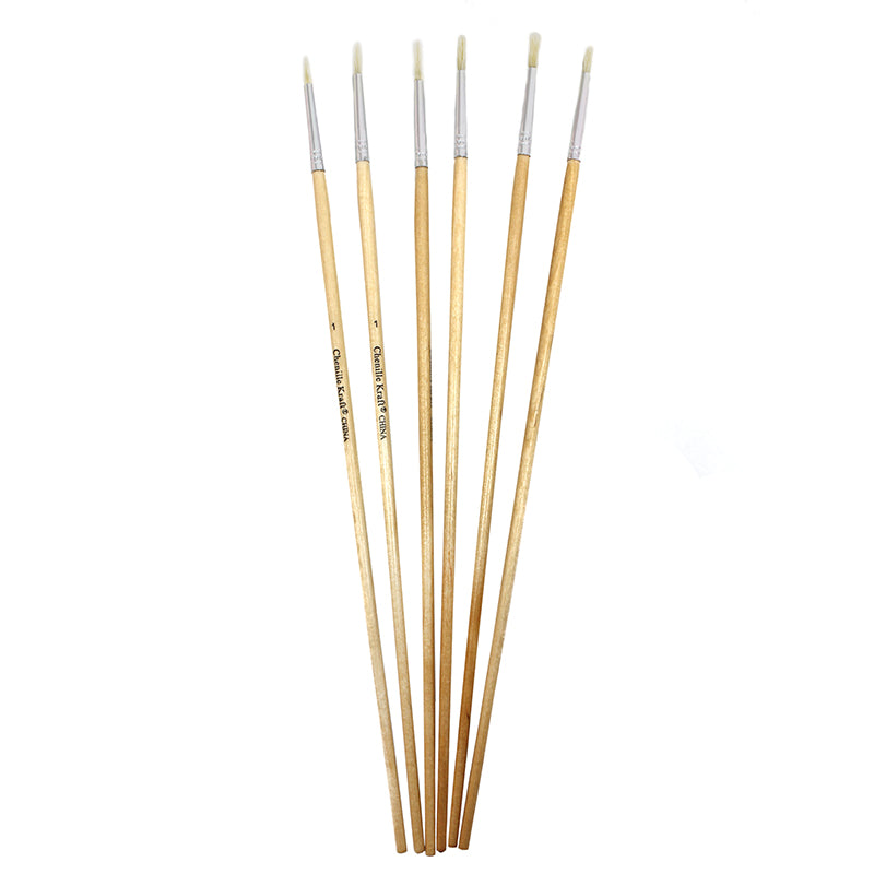 Pacon Round White 6 Piece Pack Of 1/8 Bristle Brushes