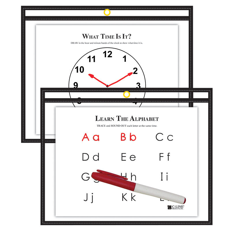 C Line 9X12 Blk Reusable Dry Erase Pockets