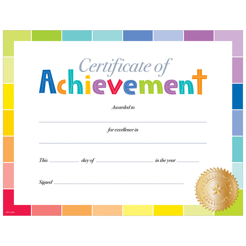 Creative Teaching Press Painted Palette Certificate Of Achievement Award