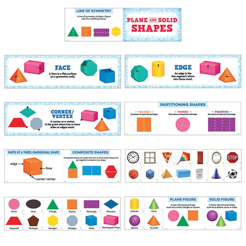Creative Teaching Press 40 Piece Plane And Solid Shapes Mini Bulletin Board Set